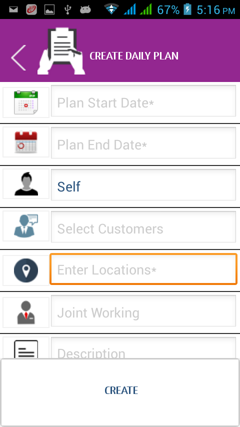 Kapture CRM app view