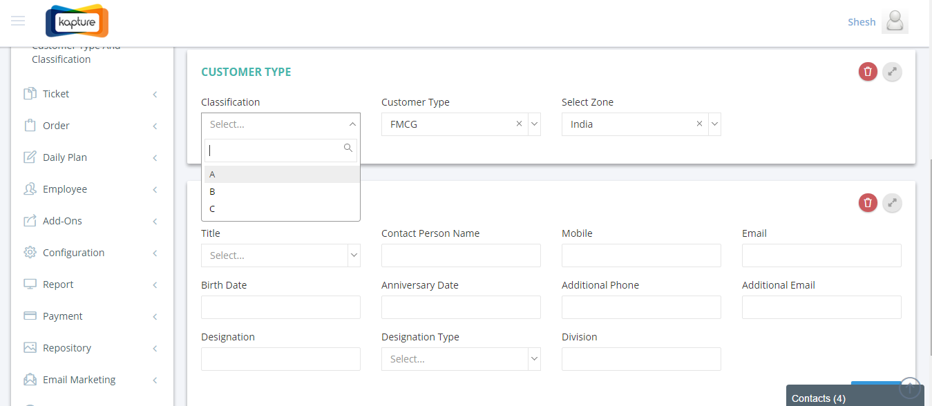 Kapture CRM interface