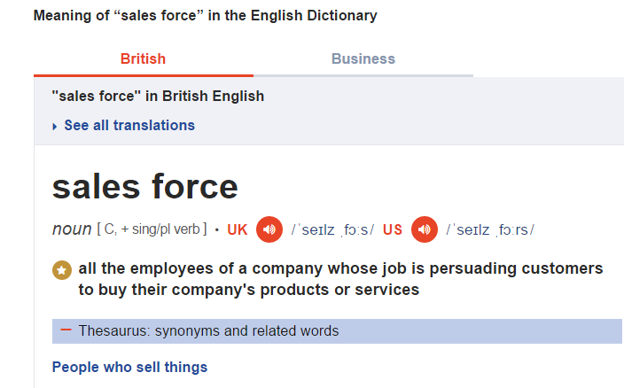 Defination for sales force