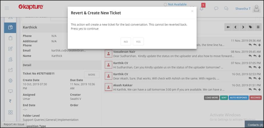 Revert & Create New Ticket